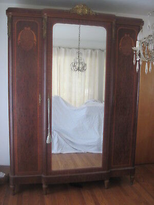 Antique French Mirrored Armoire Cabinet w/ Gold Ormolu and Wood Inlay Detailing