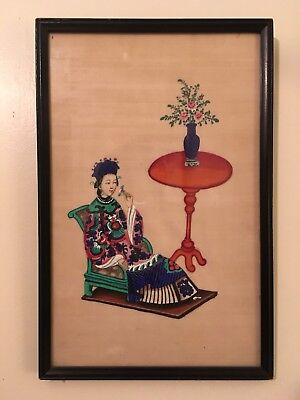 Antique Japanese Painting On Pith Paper Seated Woman Holding A Flower Circa 1900
