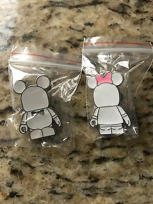 Disney Parks- Mickey And Minnie Vinylmations- Set Of 2 Trading Pins          580