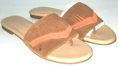 3fec6fae808 NEW UGG BINX Women's Suede Leather Chestnut Fringe Slide Sandals Size 9.5
