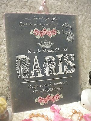 "Shabby Chic / Vintage / French / PARIS Hanging Plaque 8"" x 10"""