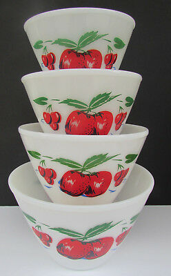 Vintage PYREX FIRE KING nesting mixing bowls cherry apple splash proof large 50s