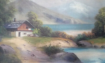 """Framed Print – Painting """"Haus am See"""" by Adolf Hitler (Replica Artwork Picture)"""