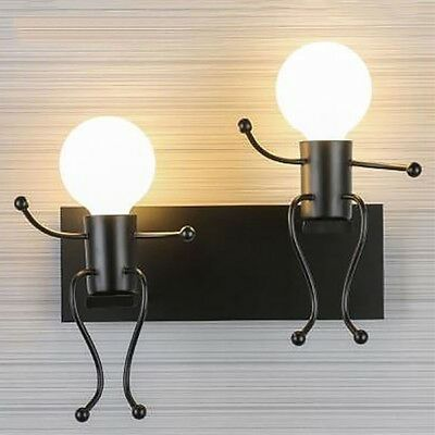 Modern small people wall lamp LED creative installation iron candlestick ch X9A7