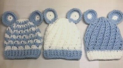 Baby Children kids HAT BOYS BLUE WHITE 0-3 3-6 6-9 Mths Handmade Great Condition