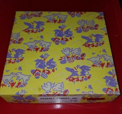 Vintage  FITZKEE'S Decorative Easter Candy Box York, PA 9x9x2. empty, used