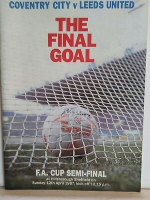 FA Cup Semi Final 1987 Programme Leeds United v Coventry City