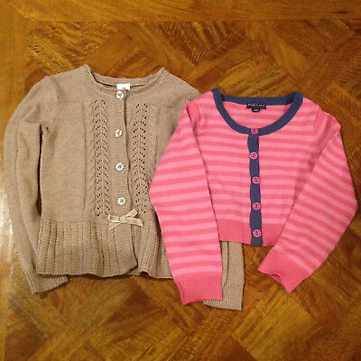 Girls Brown Long Sleeve Target & Pink Long Sleeved Pumpkin Patch Cardigan Size 5