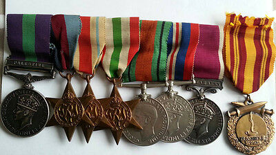 A Palestine, WW2 British Medal group of 7 and Dunkirk Medal to SGT Royal Signals
