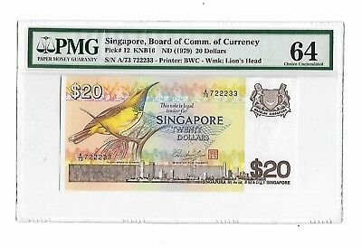 Singapore ND(1979) $20 Pick#12, Fancy serial no A/73 722233, PMG64 Choice UNC