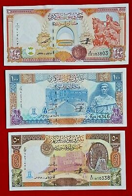 SYRIA 1997 - 1998 Lot of 3 Notes  200 100 50 Syrian Pounds UNC