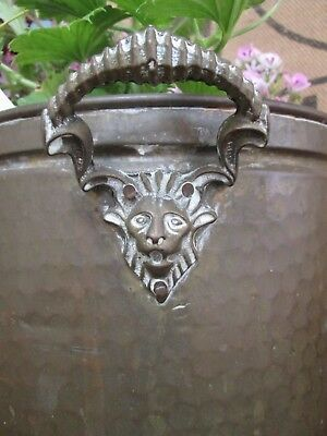 Beautiful Vintage Antique Brass House Plant Pot Holder Garden Planter Rams Head