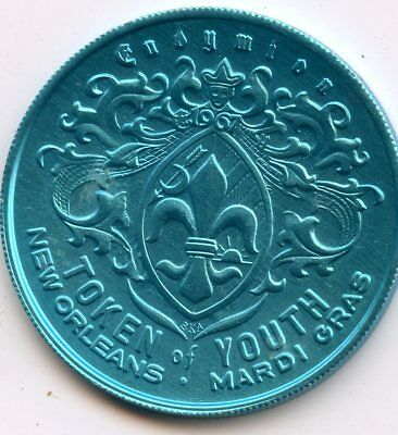 Mardi Gras Doubloon: Krewe of Endymion 1970 Aluminum Blue