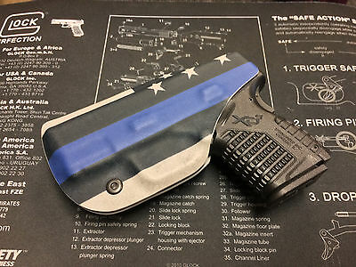 THIN BLUE LINE FLAG IWB KYDEX HOLSTER - for Springfield XDS 3.3 (9/40/45) Right