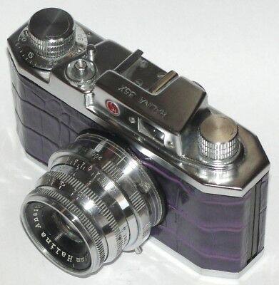 Vintage HALINA 35X CAMERA. MAUVE CROCODILE SKIN COVERING