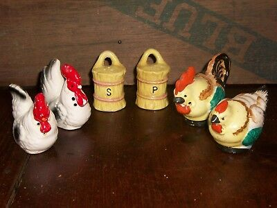 (Pair of Vintage Ceramic Hen/Rooster Salt and Pepper Shakers, Japan + Bonus Set