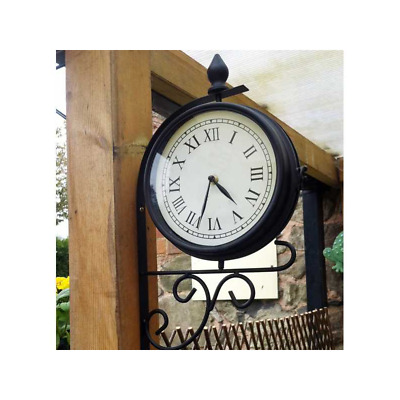 Train Station Victorian Style Rotating Metal Garden Clock & Wall Bracket