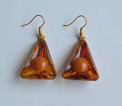 Art Deco Swirl Faux Amber Early Plastic & Bakelite earrings dangle new hooks