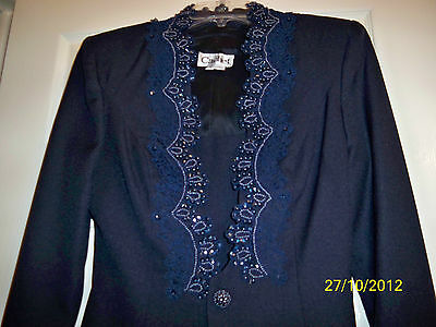 20856c15635 Beautiful Small 8-10 Navy Blue Polyester Cachet Mother of the Bride Jacket  Dress