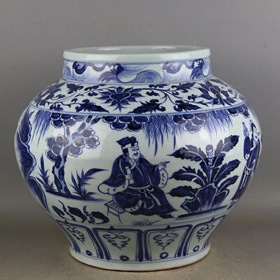 Nice Chinese Antique Blue and White Two Dragons Porcelain Jar Pot