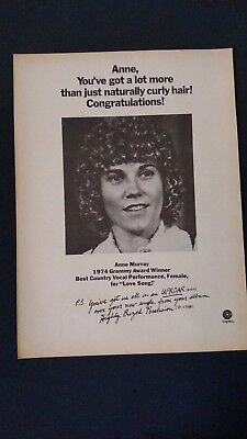 ANNE MURRAY-1974 Grammy Award Winner Original Promo Poster Ad