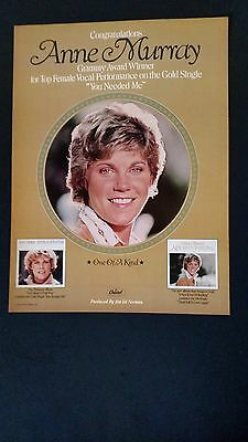 ANNE MURRAY-Grammy Award Winner 1979 Original Promo Poster Ad