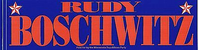 Rudy Boschwitz for US Senate (Minnesota): Two Vintage Political Bumper Stickers