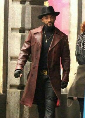 Mens Real Leather Goth Butler / Will Smith deed Three Quarter Length Coat