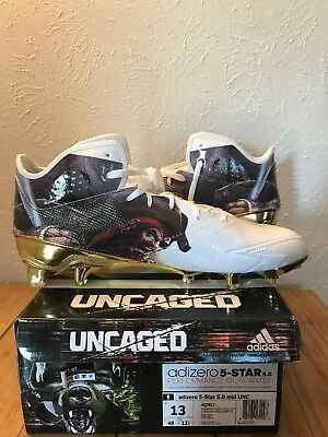 100% authentic 45aaf a11cd Adidas Adizero 5 Star Uncaged Mid Football Cleat White Gold PIRATE Size 13