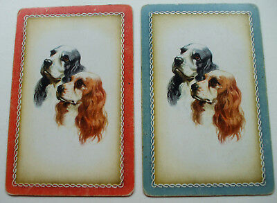 2 Single Vintage Swap Playing Cards Dog Heads Spaniels Pair