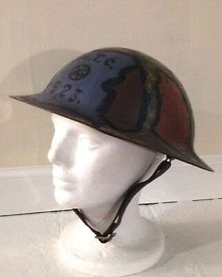 Antique WWI doughboy helmet, MTC D/F 74, World War 1 military collectible