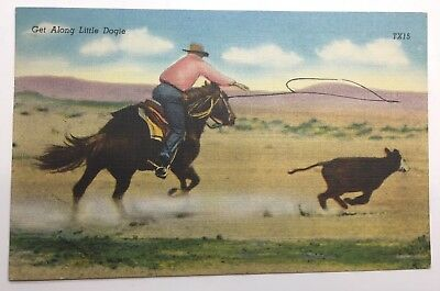 VINTAGE LINEN POSTCARD cowboy roaping a Dogie  posted 1948
