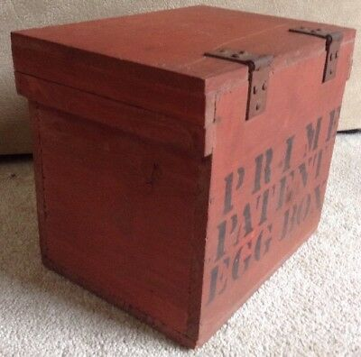 Antique Wooden Egg Box Or Crate In Old Red Paint Rare 2999