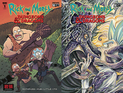 2 Book SET- RICK AND MORTY VS DUNGEONS & DRAGONS 1 ONI PRESS IDW Variant ellerby
