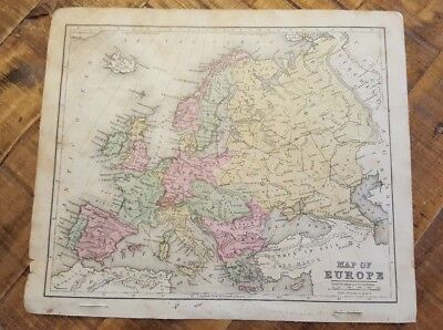 Antique Hand Colored MAP - EUROPE - Common School Geography 1873
