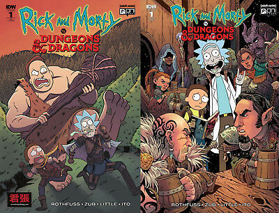 Fowler Variant 2 Book SET- RICK AND MORTY VS DUNGEONS & DRAGONS 1 ONI PRESS IDW