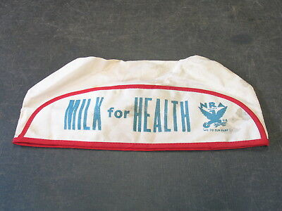 1930s NATIONAL RECOVERY ACT NRA MILK HAT MILKMAN WE DO OUR PART MILK FOR HEALTH