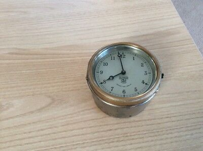 Vintage Dashboard Clock With Brass Face