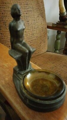 Reduced $Vintage Art Deco 1930's signed Nuart NY Nude Lady Statue Bowl Frankart