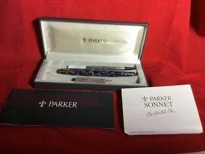 Parker Sonnet RollerBall Pen. Laque Indigo Blue Marble With Box.roller Ball