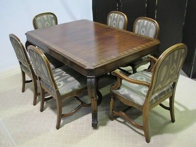 1920's French Empire Style Dining Table & 6 Chairs; Carved Mahogany & Rosewood