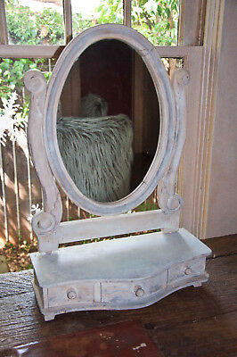 Vintage Wooden Vanity Mirror with Drawers Shabby Chic