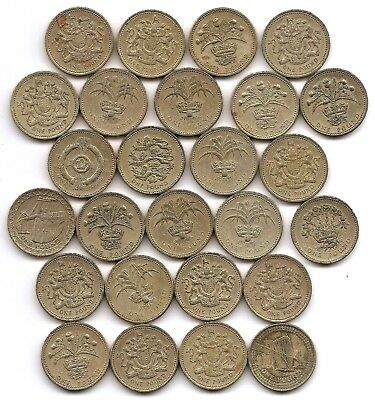 Great Britain Lot of 26 1 Pound Coins 1983 - 2005   26 Total Pounds!