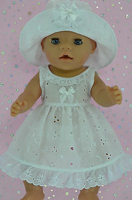 """Play n Wear Doll Clothes To Fit 17"""" Baby Born WHITE BRODERIE ANGLAISE DRESS~HAT"""