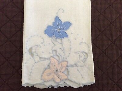 Madeira Style Ivory Peach And Blue Floral Linen Hand Towel 26x14