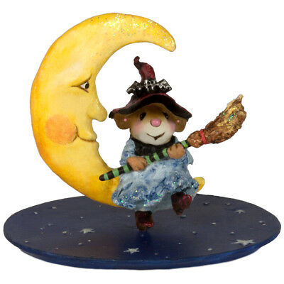 BROOM TO THE MOON by Wee Forest Folk, WFF# M-623 Halloween Witch Mouse