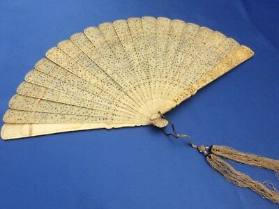 Exceptional Antique Carved Chinese Canton Brise Export Fan Eventail 清朝 嘉慶帝 Qing