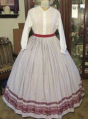 Civil War Dress~Victorian Style Lovely 100% Cotton Gray With Rosebuds Skirt