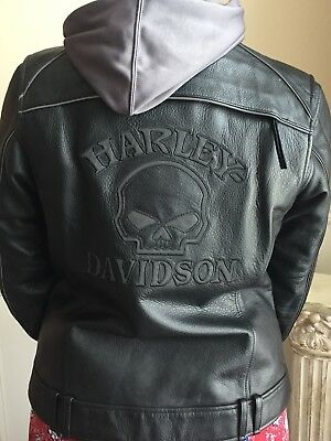 Harley Davidson Willie G Women's Leather Coat Size Large with Removable Jacket