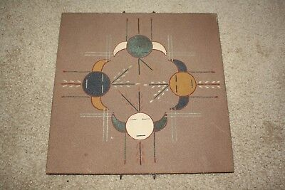 Vintage Native American Indian Navajo Gracie Dick Signed Sand Painting Sun God